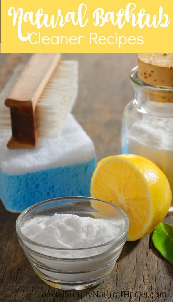 bathtub cleaner ingredients on wood
