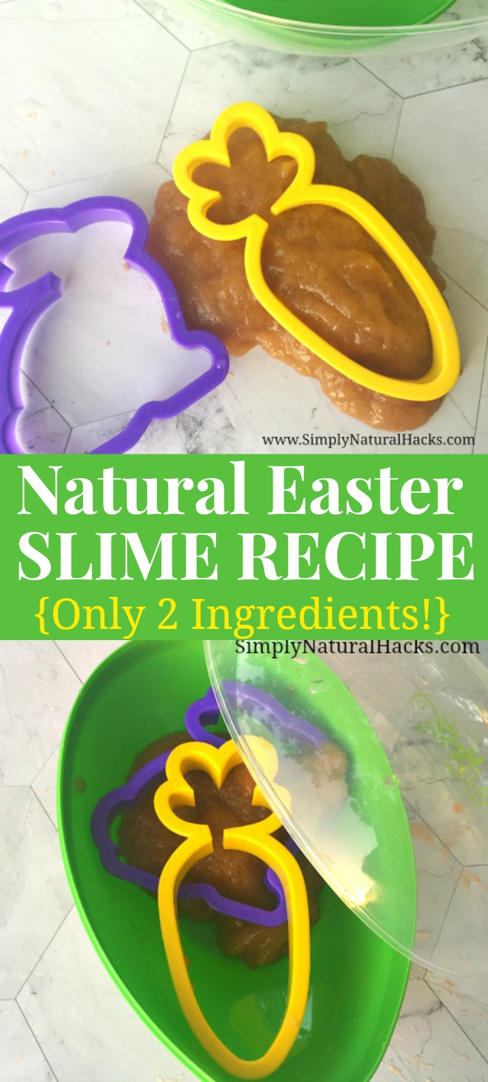 Easy Natural Slime Recipe for Easter - put it in a plastic Easter egg with cookie cutters for a fun Easter gift for kids.
