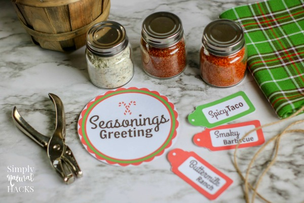 Make this diy spice mix gift basket with 3 spice mix recipes and printable seasoning greetings gift tag