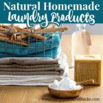 folded towels with homemade laundry detergent
